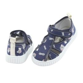 Pantofi pentru copii American Club bleumarin cu velcro TEN 27/19 alb albastru marin gri 4