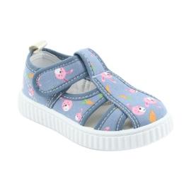Pantofi pentru copii American Club cu velcro albastru TEN 32/19 roz 1