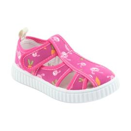 Pantofi pentru copii American Club cu velcro roz TEN 32/19 alb 1