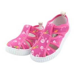 Pantofi pentru copii American Club cu velcro roz TEN 32/19 alb 3