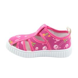 Pantofi pentru copii American Club cu velcro roz TEN 32/19 alb 2