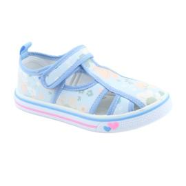 Pantofi copii American Club velcro albastru TEN 27/19 verde 1