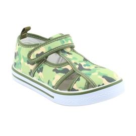 Pantofi pentru copii American Club cu velcro camo verde TEN 27/19 maro gri 1