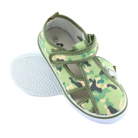 Pantofi pentru copii American Club cu velcro camo verde TEN 27/19 maro gri 3
