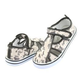 Pantofi pentru copii American Club cu branț din piele cu velcro alb maro negru gri 4