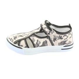 Pantofi pentru copii American Club cu branț din piele cu velcro alb maro negru gri 2