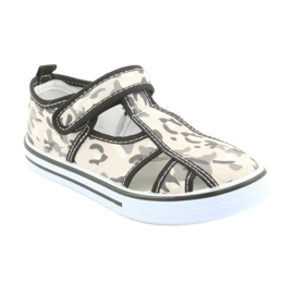 Pantofi pentru copii American Club cu branț din piele cu velcro alb maro negru gri 1