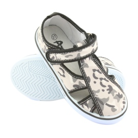 Pantofi pentru copii American Club cu branț din piele cu velcro alb maro negru gri 3
