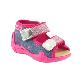 Sandale Befado papuci, branț din piele albastru roz 1