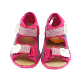Sandale Befado papuci, branț din piele albastru roz 3