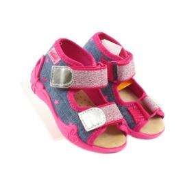 Sandale Befado papuci, branț din piele albastru roz 4