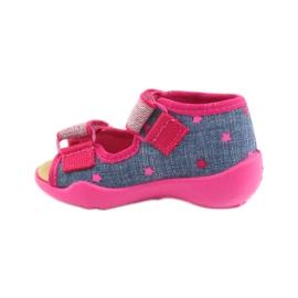 Sandale Befado papuci, branț din piele albastru roz 2