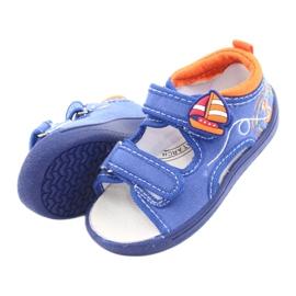 Sandale pentru copii albastre American Club TEN36 albastru portocale 5