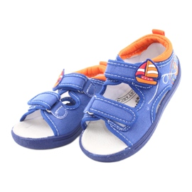 Sandale pentru copii albastre American Club TEN36 albastru portocale 3