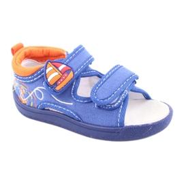 Sandale pentru copii albastre American Club TEN36 albastru portocale 1
