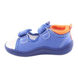 Sandale pentru copii albastre American Club TEN36 albastru portocale 2