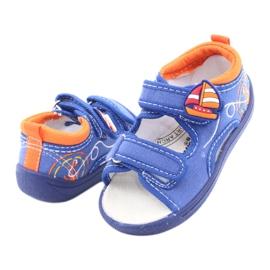 Sandale pentru copii albastre American Club TEN36 albastru portocale 4
