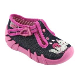 Pantofi pentru copii Befado 110P348 bleumarin albastru marin multicolor roz 1