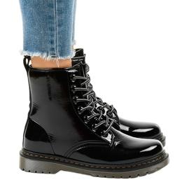 Cizme negre din piele patentată TL142-1 negru 2