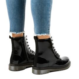 Cizme negre din piele patentată TL142-1 negru 3