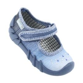 Încălțăminte pentru copii Befado cu zirconi 109P186 albastru gri 1