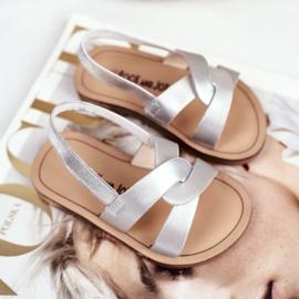 FRROCK Sandale Slip-on pentru copii cu bandă elastică Silver Bambino gri 1