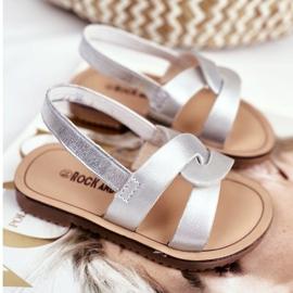 FRROCK Sandale Slip-on pentru copii cu bandă elastică Silver Bambino gri 4