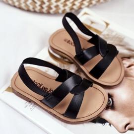 FRROCK Sandale pentru copii, din bambus negru, cu bandă elastică 1