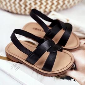 FRROCK Sandale pentru copii, din bambus negru, cu bandă elastică 4