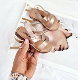 FRROCK Sandalele pentru copii Alunecă cu o bandă elastică Golden Bambino de aur 3