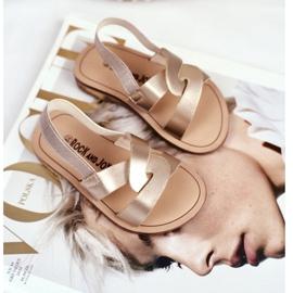 FRROCK Sandalele pentru copii Alunecă cu o bandă elastică Golden Bambino de aur 2