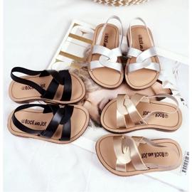 FRROCK Sandalele pentru copii Alunecă cu o bandă elastică Golden Bambino de aur 1