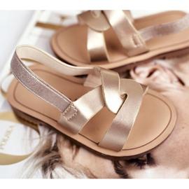 FRROCK Sandalele pentru copii Alunecă cu o bandă elastică Golden Bambino de aur 4