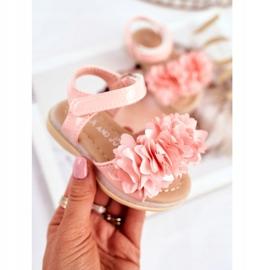 FRROCK Sandale pentru copii cu velcro strălucitor roz Milena 2