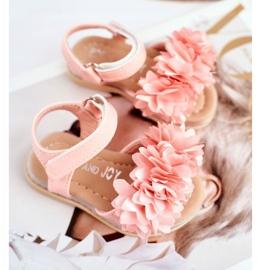 FRROCK Sandale pentru copii cu velcro strălucitor roz Milena 1