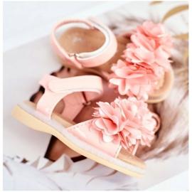 FRROCK Sandale pentru copii cu velcro strălucitor roz Milena 4