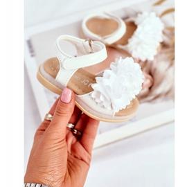 FRROCK Sandale pentru copii cu velcro strălucitor alb Milena 1