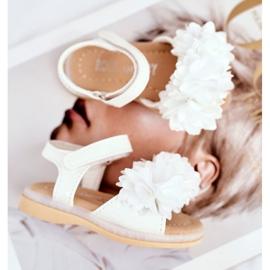 FRROCK Sandale pentru copii cu velcro strălucitor alb Milena 4