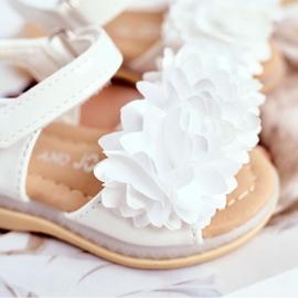 FRROCK Sandale pentru copii cu velcro strălucitor alb Milena 3