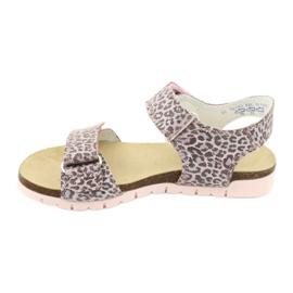Sandale roz Bartek cu imprimeu leopard 76183-BBK bej gri 1