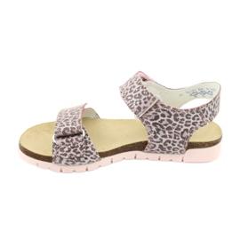 Sandale roz Bartek cu imprimeu leopard 79183-BBK bej gri 1