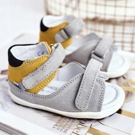 Bartek S.A. Sandale pentru copii Preventive Mini First Steps Bartek W-71266 gri galben 1