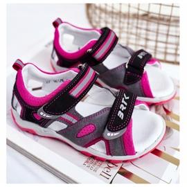 Bartek S.A. Sandale pentru copii pentru fete Profilactic Bartek T-16176-7 / 77G negru roz gri 1