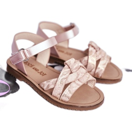 FRROCK Sandale pentru copii cu velcro pentru fete roz Lilo 1