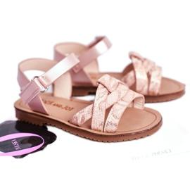 FRROCK Sandale pentru copii cu velcro pentru fete roz Lilo 3