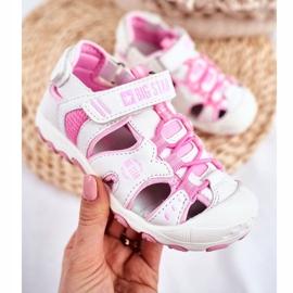 Sandale copii Big Star cu velcro alb FF374207 roz 4