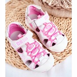 Sandale copii Big Star cu velcro alb FF374207 roz 5