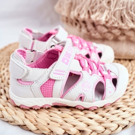 Sandale copii Big Star cu velcro alb FF374207 roz 3