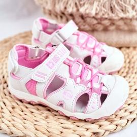 Sandale copii Big Star cu velcro alb FF374207 roz 1