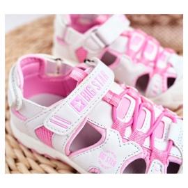 Sandale copii Big Star cu velcro alb FF374207 roz 2